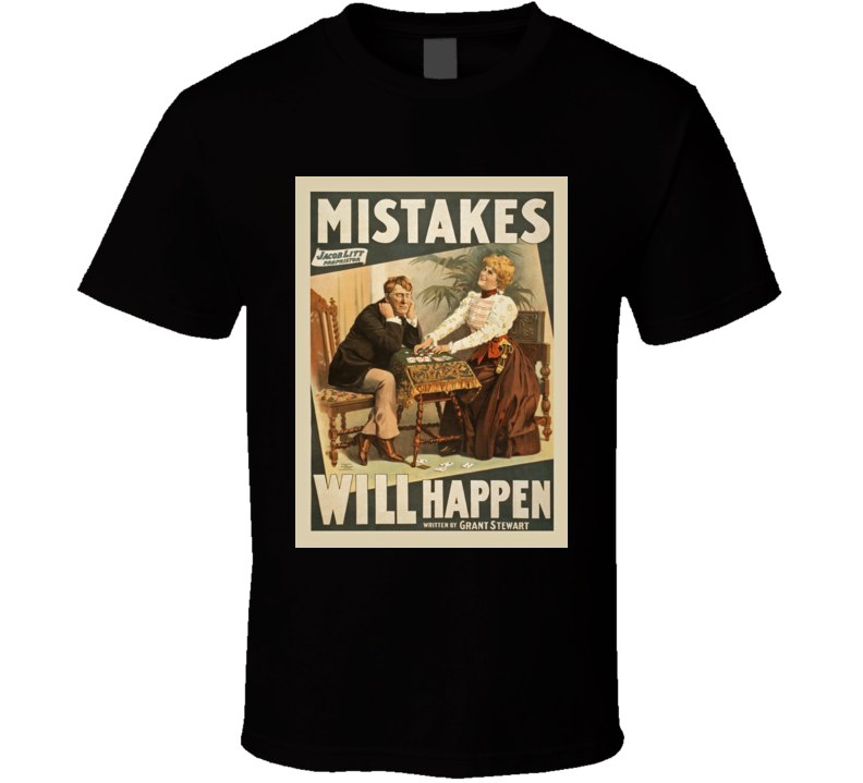 New Alstyle Apparel Mens Black Tshirt Mistakes Will Happen All Sizes S-6XL