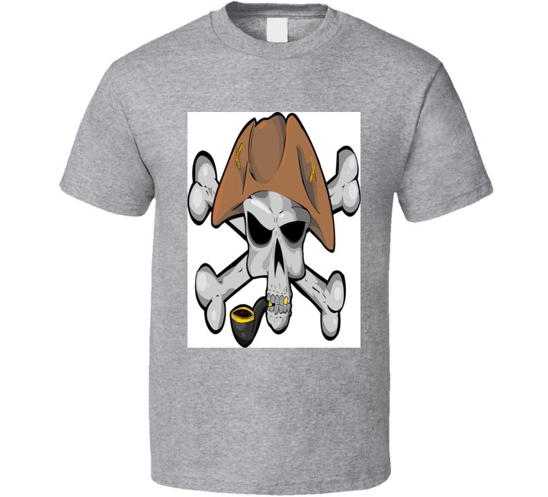 Pirate Skull Jolly Rodger Alstyle Apparel Men's Sport Grey T-shirt
