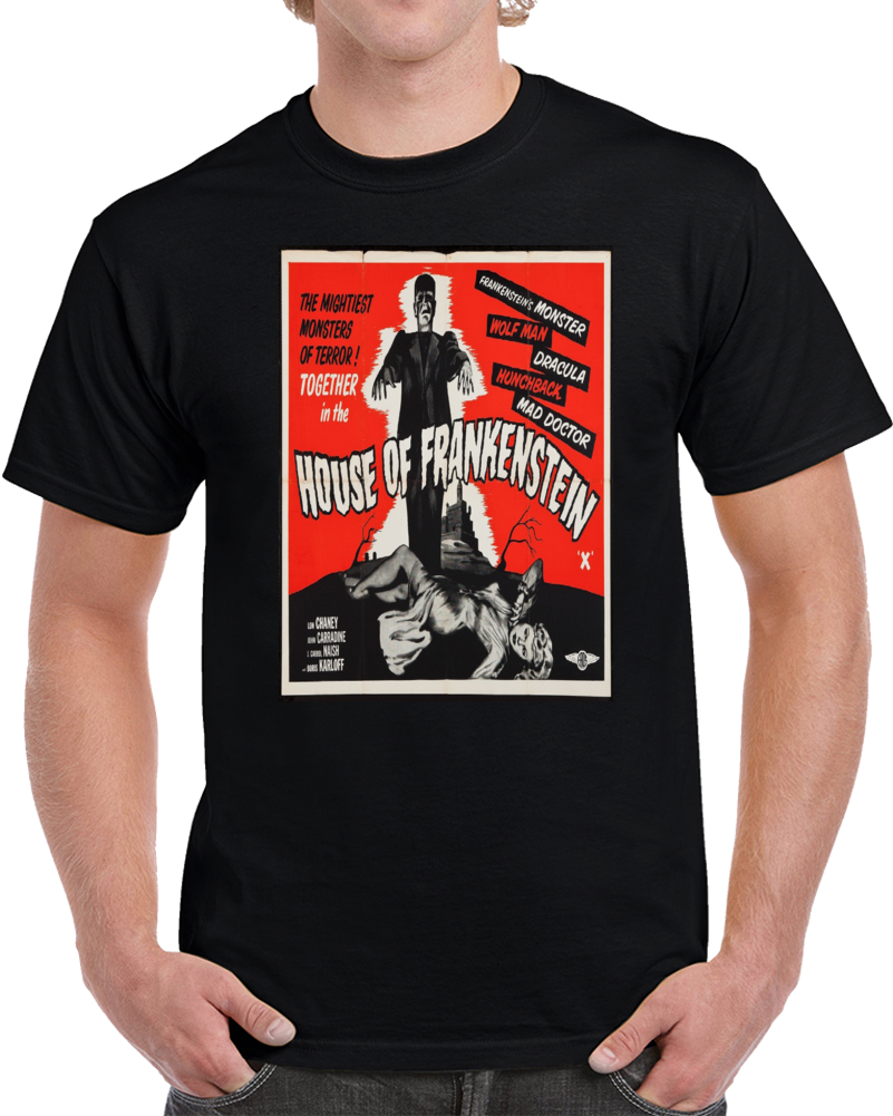 House Of Frankenstein T Shirt Alstyle Apparel Men's Movie Poster Black T-shirt