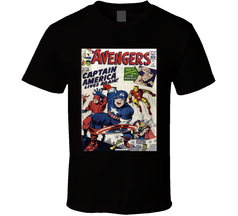 Marvel Captain America Comic Book Cover Print Mens Graphic Black T Shirt