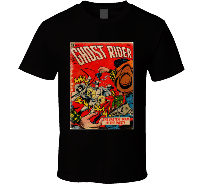 Ghost Rider Comic Book Cover 1953 Print Mens Black Graphic T Shirt