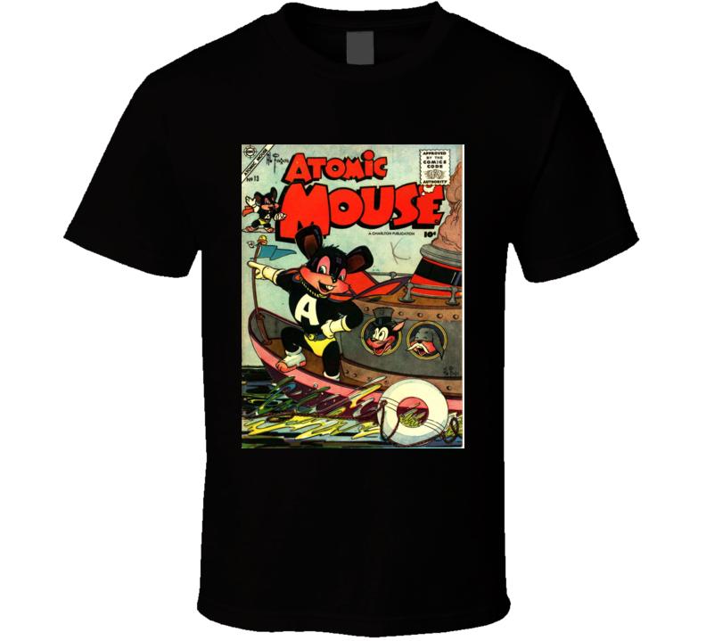 Atomic Mouse Comic Book Cover 1955 Men Alstyle Apparel Men's Black T-shirt