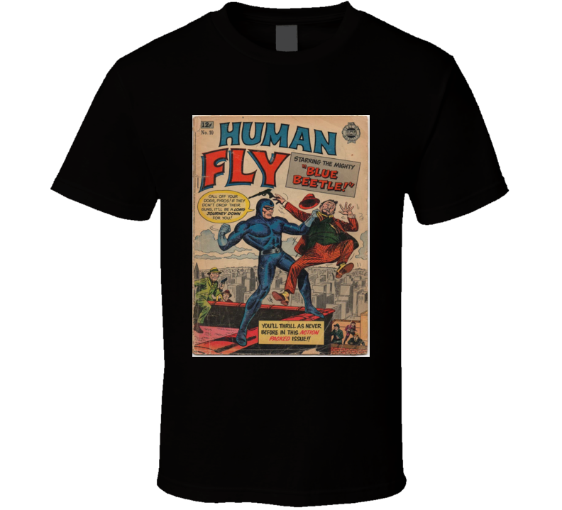 Human Fly Comic Book Cover Print Mens Graphic Black T Shirt
