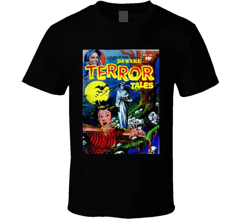 Terror Tales Comic Book Cover Print Men's Graphic Black T-shirt