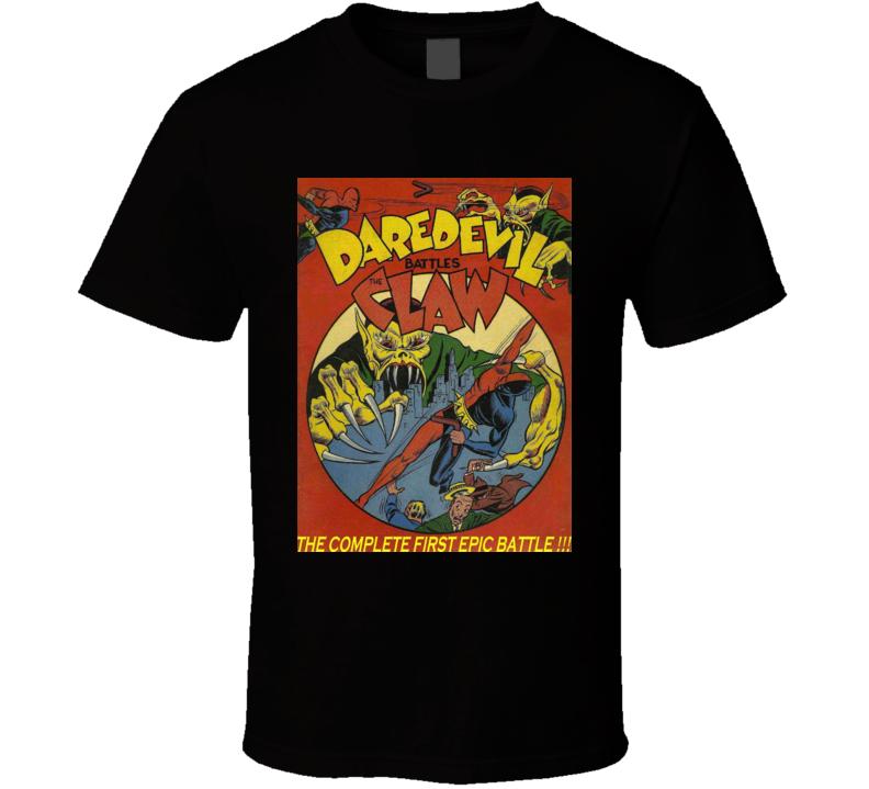 Daredevil Battles The Claw Comic Book Cover Print Men's Graphic Black T-shirt
