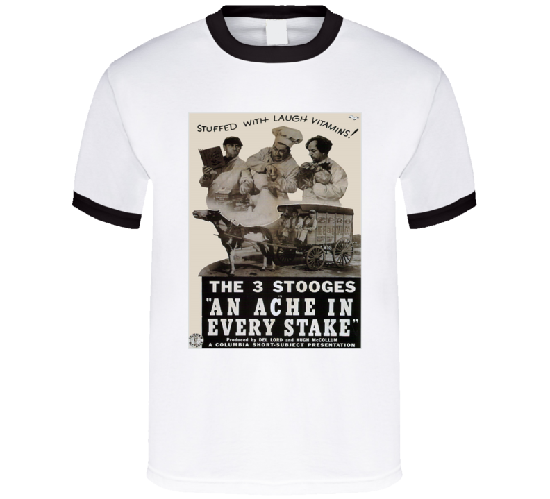 Vintage Movie Poster 3 Stooges An Ache In Every Stake Graphic T Shirt