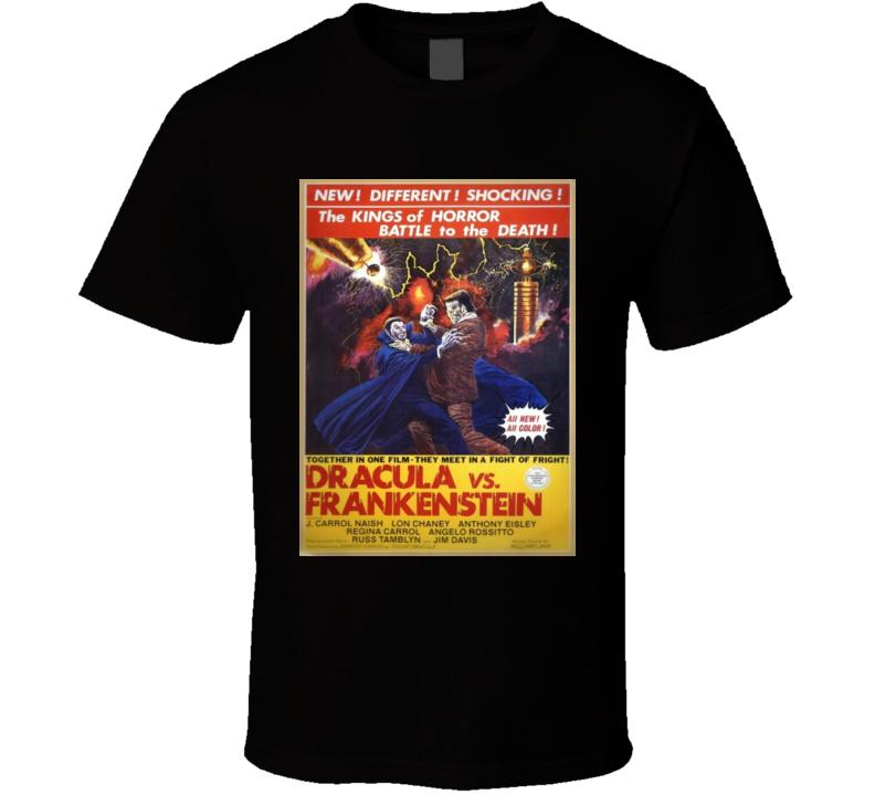 Dracula Vs Frankenstein Vintage Horror Style Movie Poster Tshirt