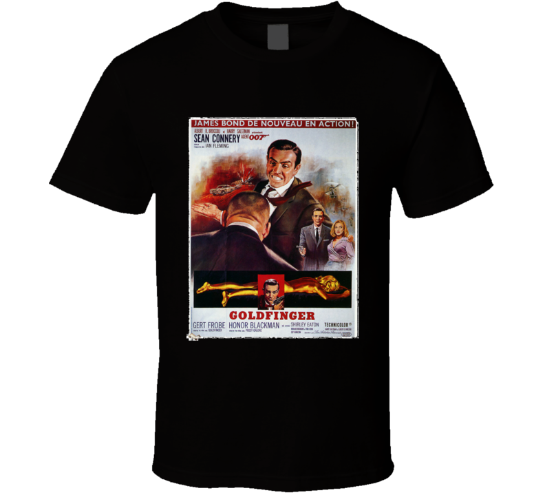 Sean Connery James Bond T Shirt Movie Poster Goldfinger