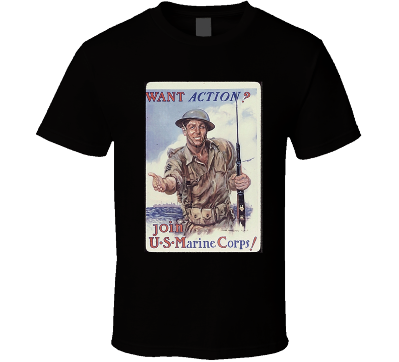 Vintage War Poster Join The Marines Graphic T Shirt