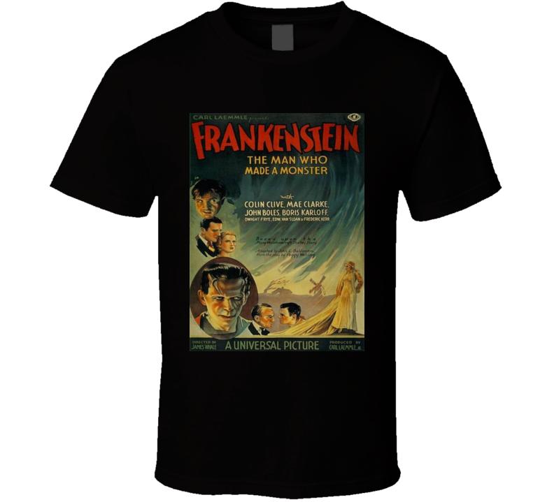 Frankenstein Boris Karloff The Man Who Made A Monster Graphic T Shirt
