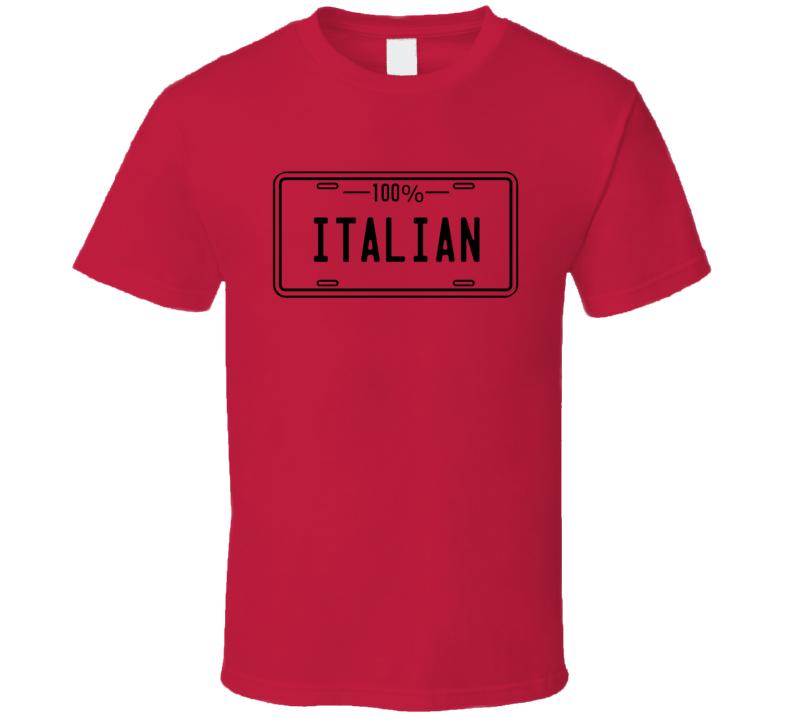 100% Italian Tshirt Licence Plate Design