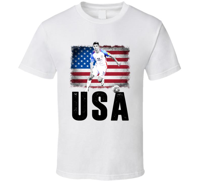 Christian Pulisic Team USA Flag Copa America Cup Soccer Futball T Shirt