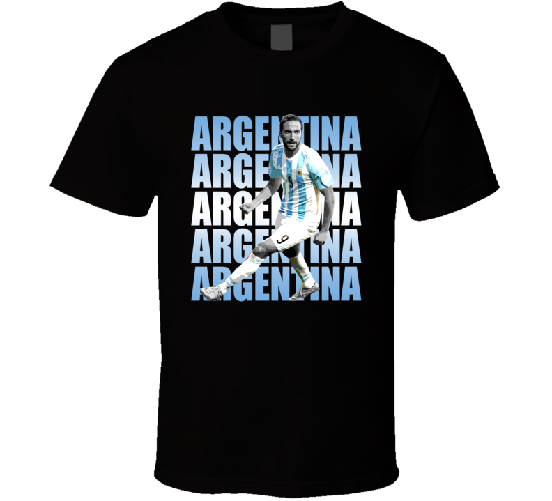 Gonzalo Higuain Team Argentina Argentinian Colors Copa America Cup Soccer Futball T Shirt