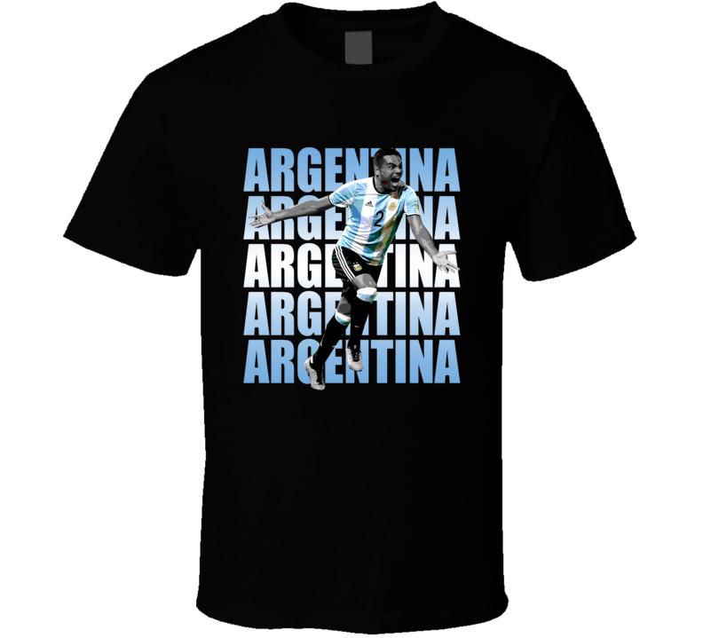 Gabriel Mercado Team Argentina Argentinian Colors Copa America Cup Soccer Futball T Shirt