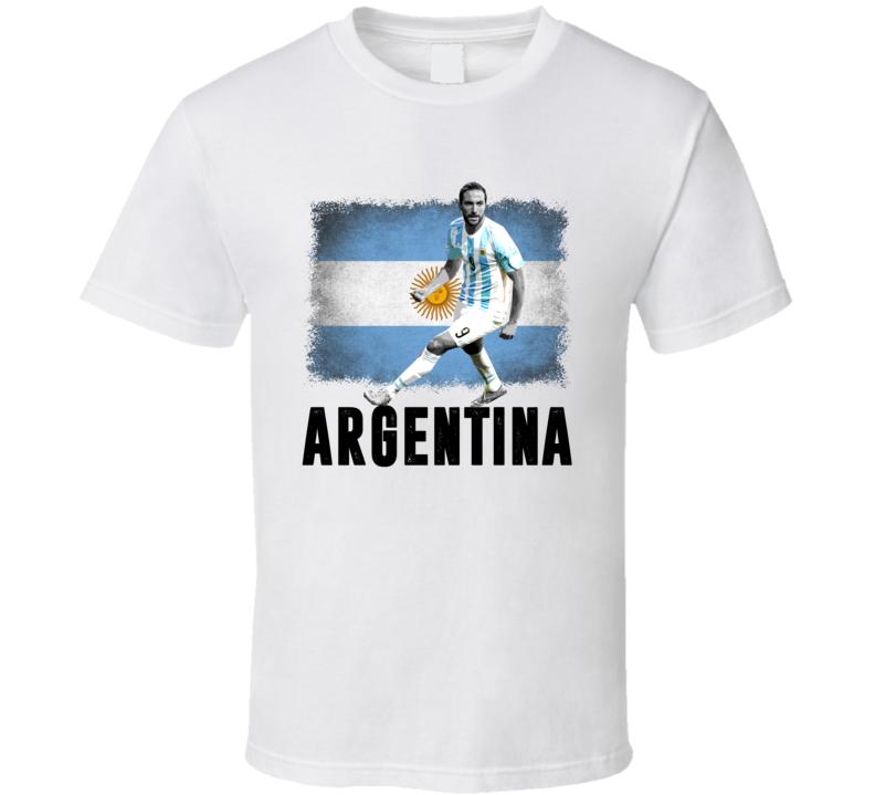 Gonzalo Higuain Team Argentina Flag Copa America Cup Soccer Futball T Shirt