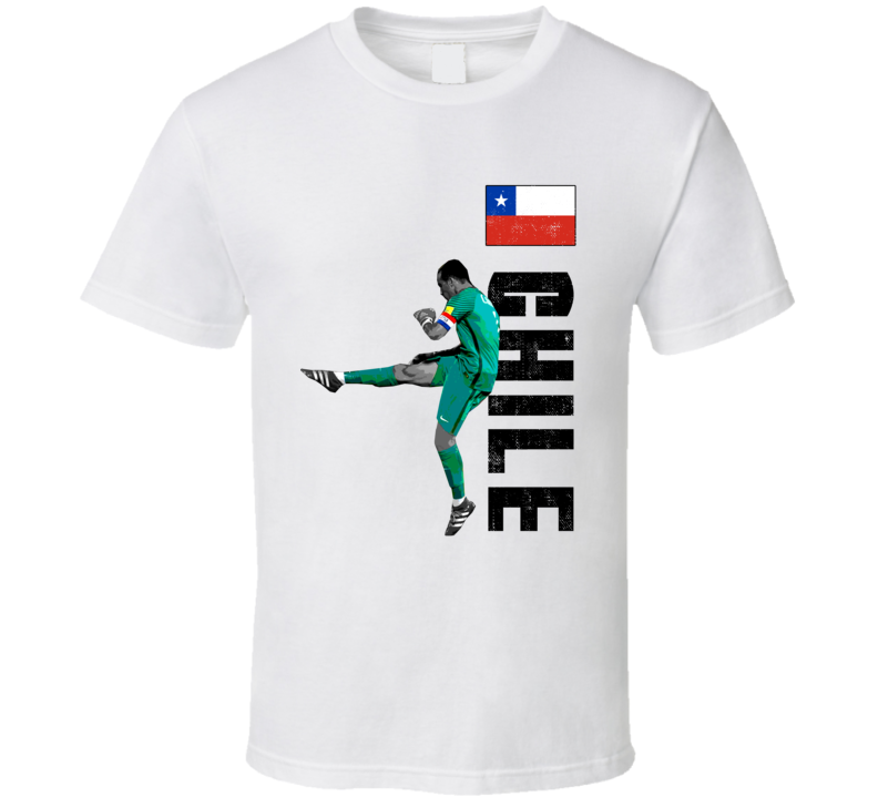 Claudio Bravo Team Chile Support Patriotic Copa America Cup Soccer Futball T Shirt