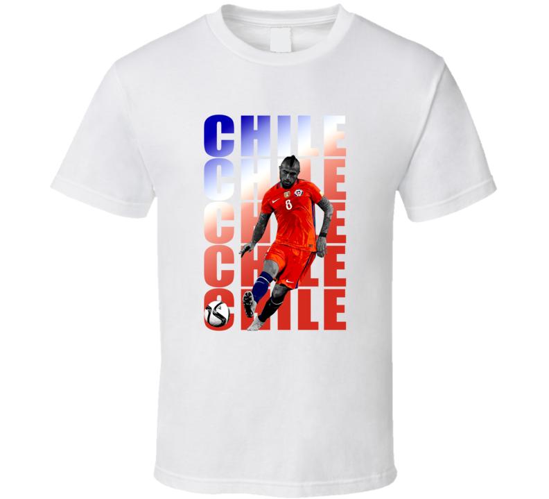 Arturo Vidal Team Chile Colors Copa America Cup Soccer Futball T Shirt