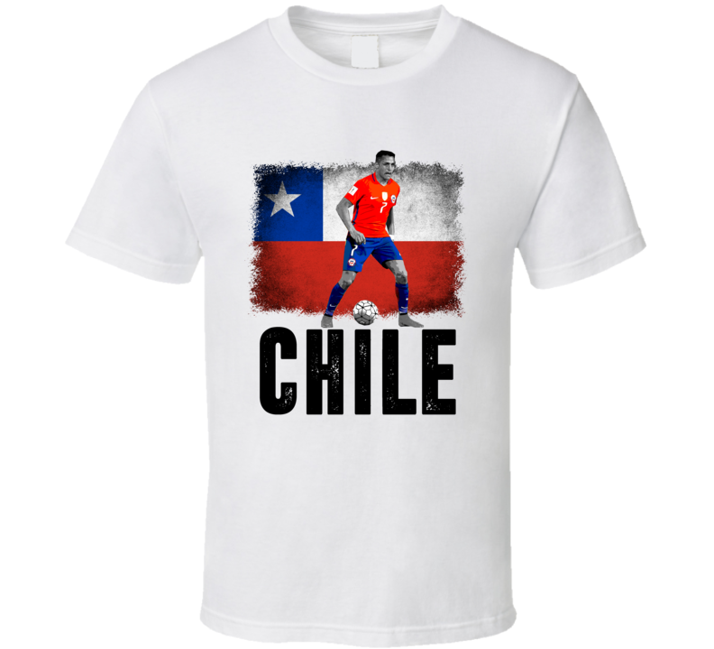 Alexis Sanchez Team Chile Flag Copa America Cup Soccer Futball T Shirt