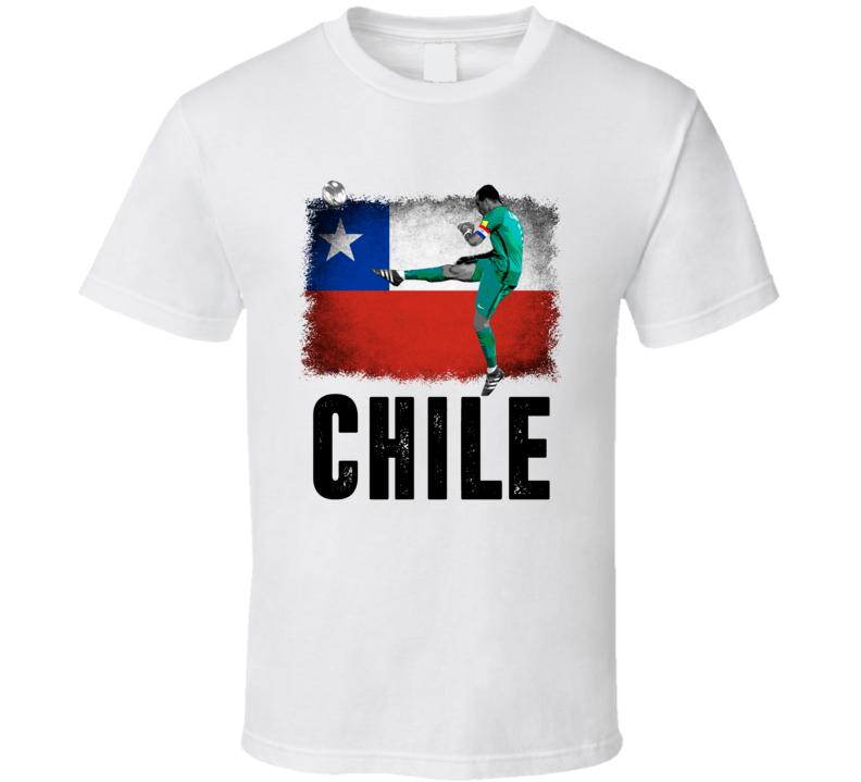 Claudio Bravo Team Chile Flag Copa America Cup Soccer Futball T Shirt