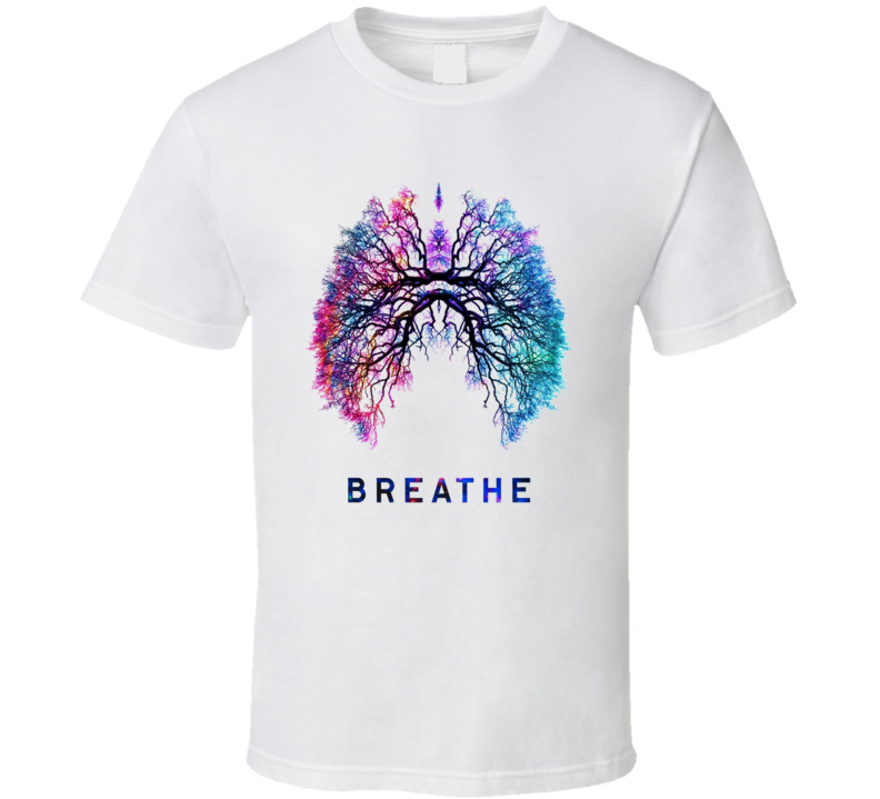 Breathe Lungs Blue Pink cancer T Shirt