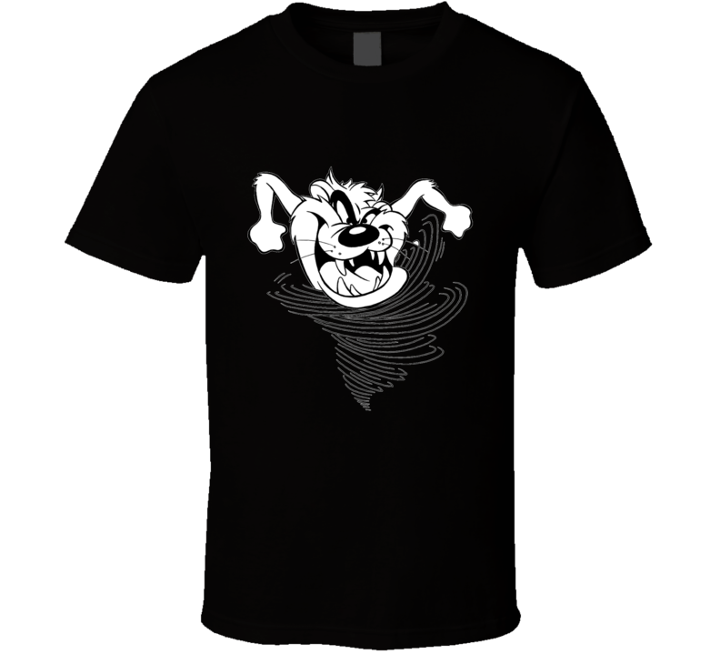 Taz Tasmanian Devil Looney Tunes Black and White Graphic T Shirt