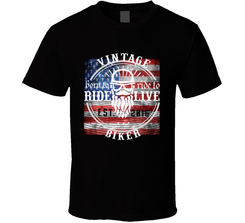 American Proud Biker Live to Ride T Shirt