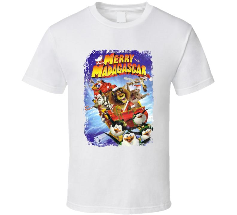 Merry Madagascar Animated Christmas Holiday Movie Poster T Shirt