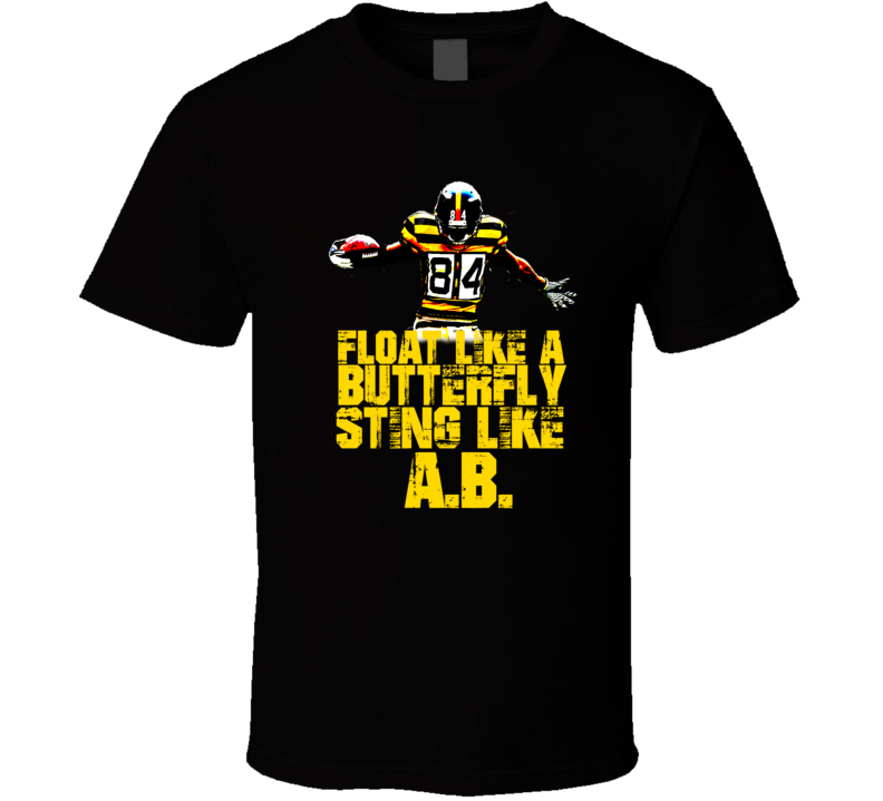 Float Like A Butterfly Sting Like AB Antonio Brown Pittsburgh Football Muhammed Ali Parody T Shirt