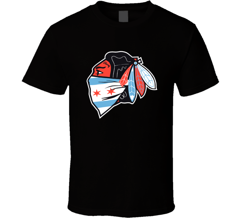 Chicago Hockey Logo Chiraq Flag Bandana Cool Mashup Sports Team T Shirt