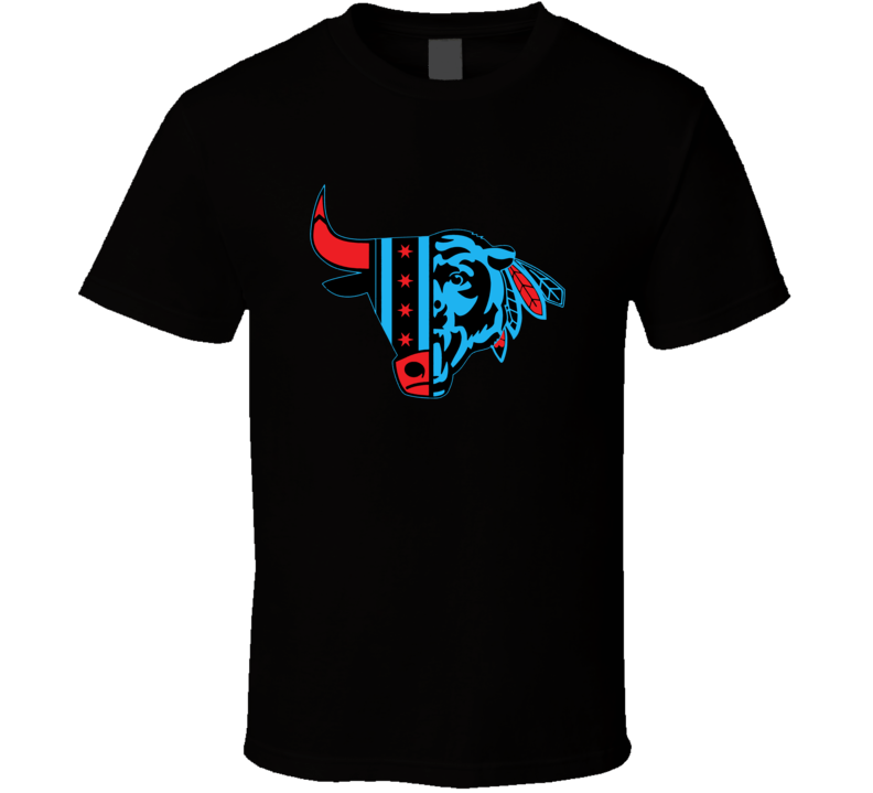 Da Bears Da Bulls Da Hawks Chicago Sports Team Mashup Cool Logo T Shirt