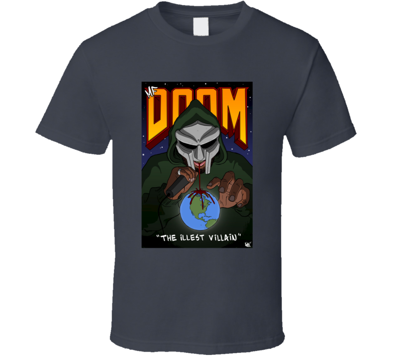 MF Doom The Illest Villain Album Cover Underground Rap Hip Hop Music T Shirt