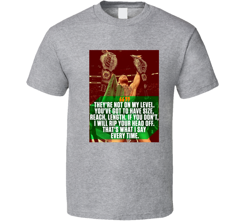 Conor McGregor 2 Belts Not On My Level UFC 205 Lightweight Featherweight Champion MMA T Shirt
