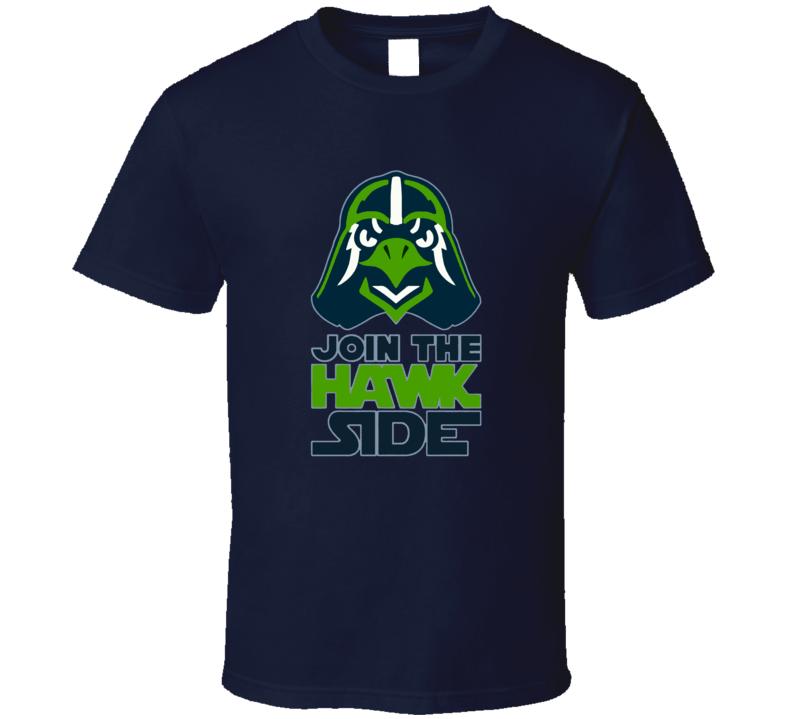 Join The Hawk Side Seattle Football Star Wars Darth Vader Parody Sports Fan T Shirt