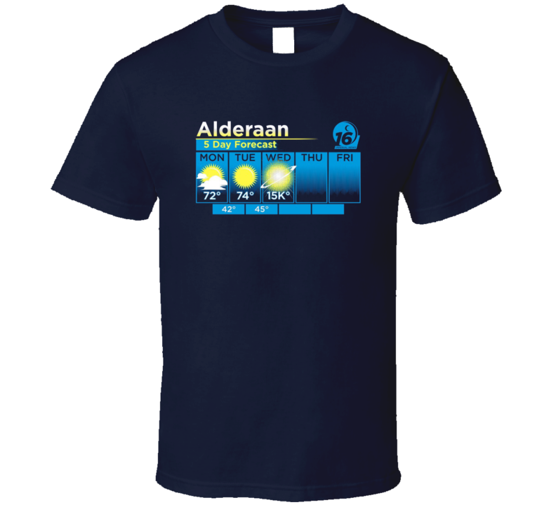 Alderaan 5 Day Weather Forecast Explosion Star Wars New Hop Sci Fi Movie Funny Fan T Shirt