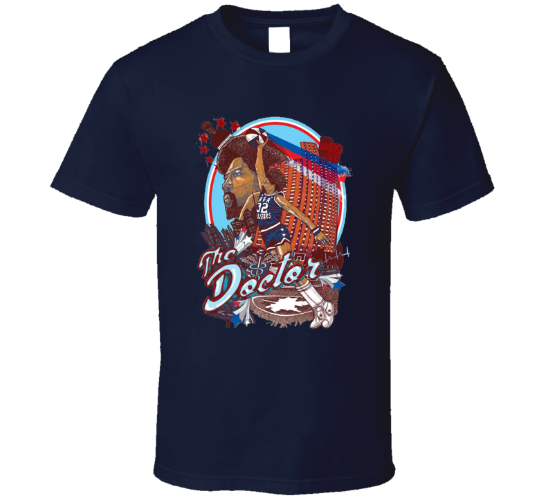 Julius Erving The Doctor Retro ABA All Stars Basketball Sports Fan Comic Cartoon Style T Shirt