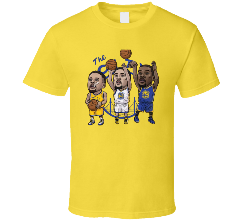 Klay Thompson Steph Curry Kevin Durant Cartoon Golden State Basketball Sports Team Fan T Shirt