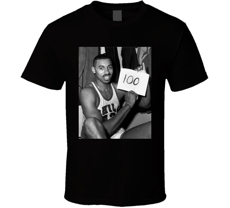 Wilt Chamberlain 100 Point Game Sign Retro Philadelphia Warriors Basketball Sports Team Fan T Shirt