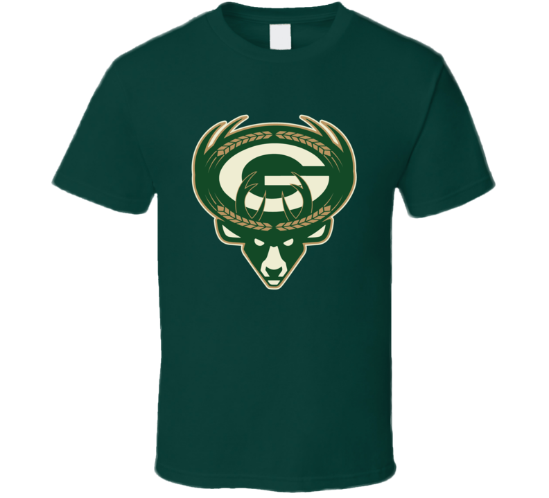 Green Bay Milwaukee Sports Team Logo Mashup Packers Bucks Brewers Fan T Shirt