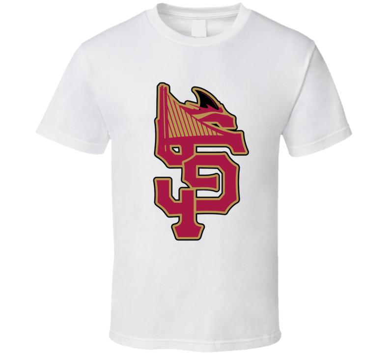 San Fransisco Sports Team Logo Mashup Niners Giants Sharks Warriors Fan T Shirt