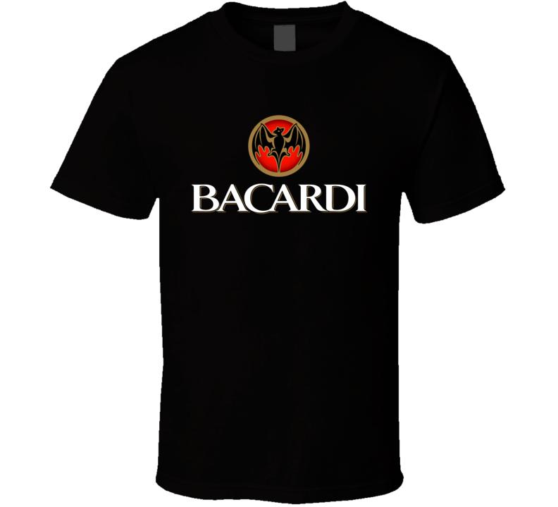 Bacardi Rum Logo Alcohol Drinking Liquor Brand For Black T Shirt