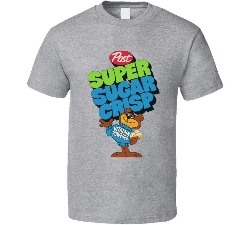 Super Sugar Crisp Cereal Popular Food Brand Logo T Shirt