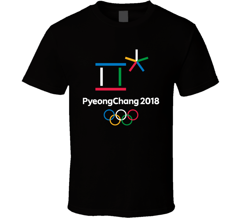 Pyeongchang 2018 Winter Olympics Logo Cool Fan For Black T Shirt