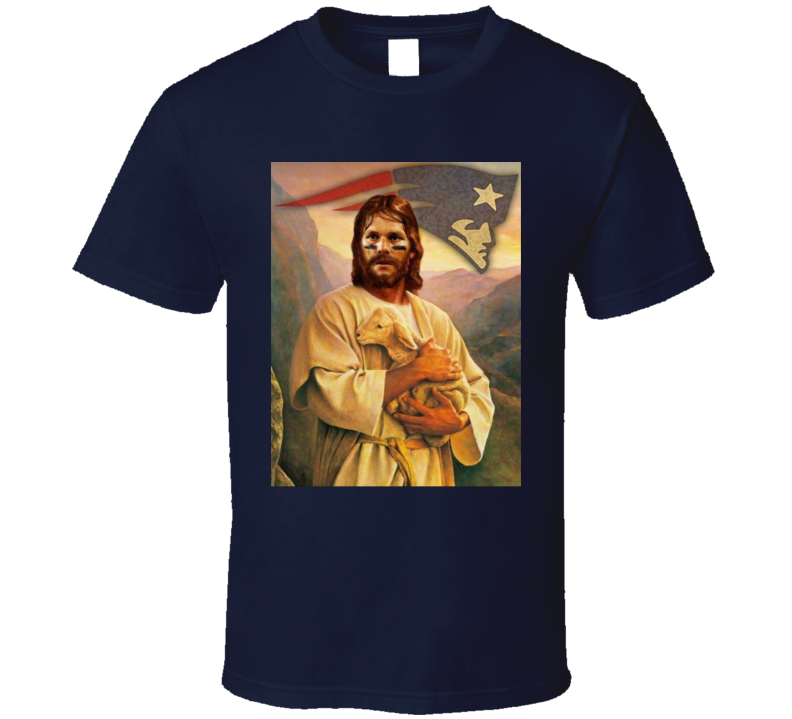 Tom Brady Jesus Holding Goat Funny New England Football Sports Team Fan T Shirt