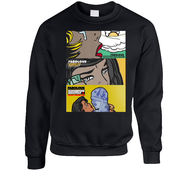 Summertime Shootout 1 2 3 Album Cover Mashup Fabolous Rap Hip Hop Music Fan Crewneck Sweatshirt