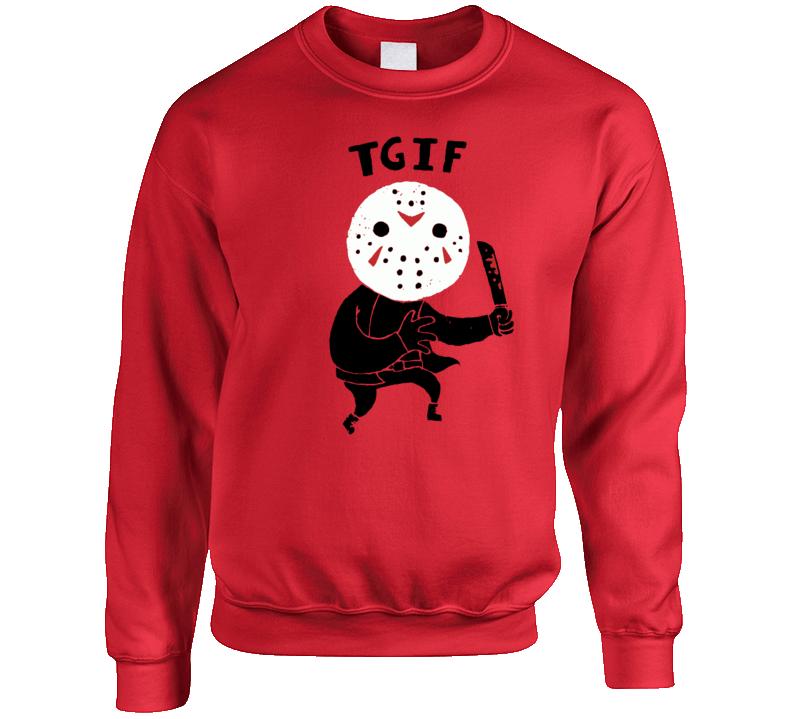 Tgif Funny Friday The 13th Jason Cartoon Parody Crewneck Sweatshirt