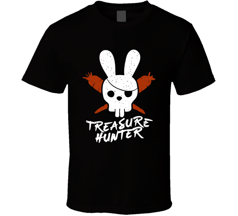 Treasure Hunter Funny Jolly Roger Rabbit Pirate Flag Easter T Shirt