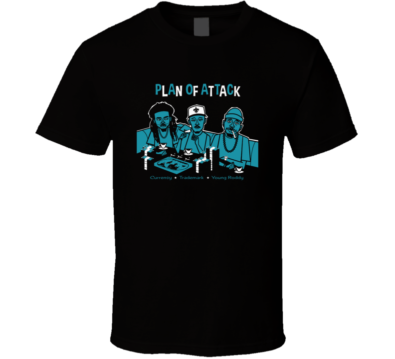 Plan Of Attack Currensy Young Roddy Rap Hip Hop Music Fan T Shirt