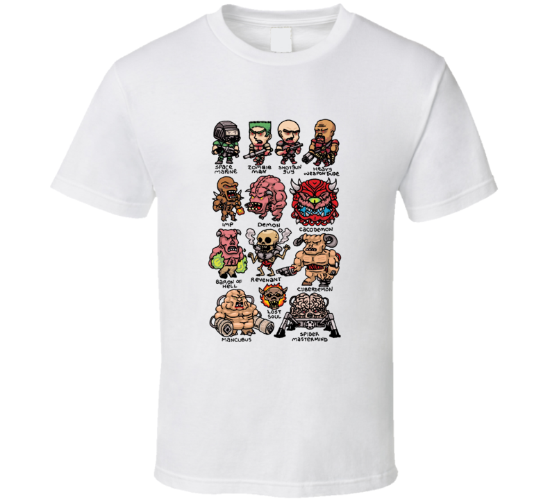 Chibi Doom Characters Video Game Gamer T Shirt