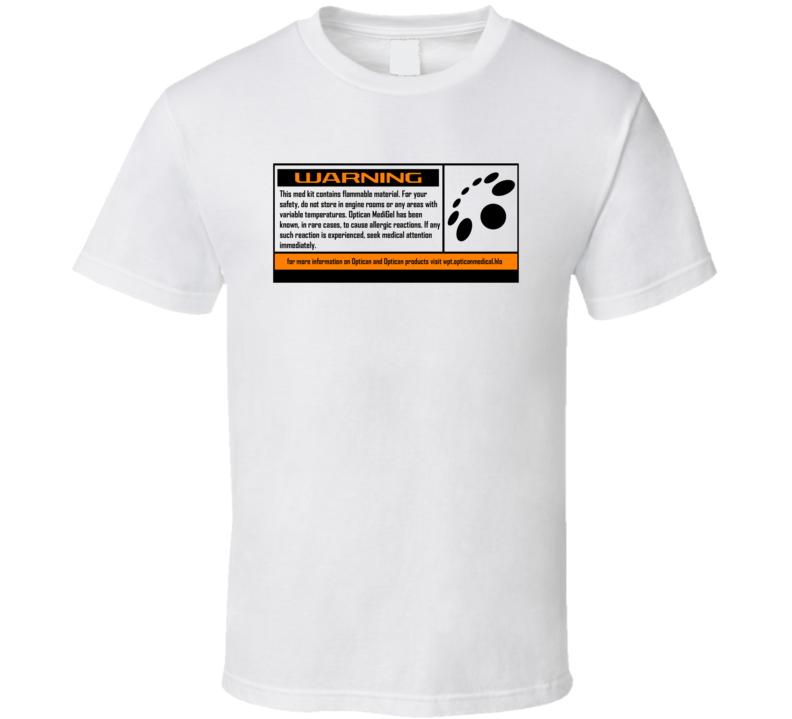 Optican Medigel Warning Label Halo Video Game Series Gamer T Shirt