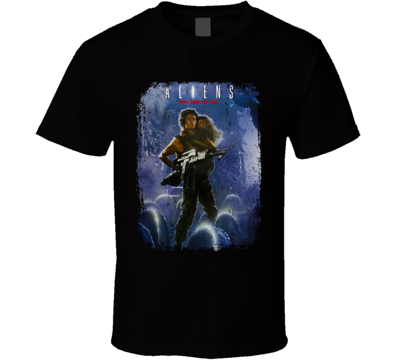 Aliens 1986 Science Fiction Sci Fi Movie Fan Retro Distressed T Shirt
